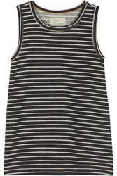 Current Elliott The Muscle Striped Cotton Jersey Tank Black
