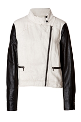 Rag And Bone Rag And Bone Cotton Linen Leather Moto Jacket White