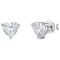 Jools By Jenny Brown Heart Shaped Cubic Zirconia Stud Earrings Silver