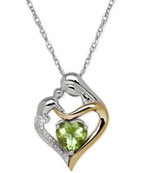 Macy's Peridot 1 1 3 Ct. T.W. And Diamond Accent Mother And Child Pendant Necklace In Sterling Silver And 14K Gold