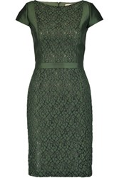 Tory Burch Mariana Wool And Silk Blend And Lace Dress Dark Green