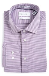 Calibrate Men's Big And Tall Trim Fit Houndstooth Stretch Dress Shirt Berry Sparkle