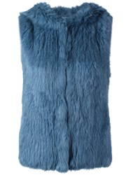 Yves Salomon Hooded Fur Vest Blue