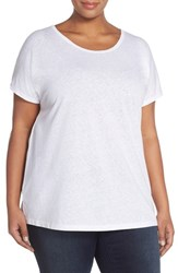 Plus Size Women's Sejour Sheer Knit Round Neck Tee White