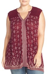 Lucky Brand Plus Size Women's Crochet Yoke Split Neck Tank