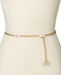 Kate Spade New York Enamel Bow And Chain Belt Pale Pink
