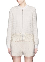 3.1 Phillip Lim Drawstring Hem Frayed Mesh Tweed Bomber Jacket Neutral