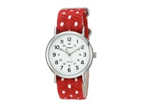 Timex Weekender Fabric Over Leather Slip Thru Strap Red Silver Tone White Watches