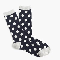 J.Crew Large Dot Trouser Socks Navy