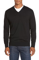 Men's Peter Millar Silk Blend V Neck Sweater Black