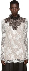 Lanvin Ivory Lace Stand Collar Blouse