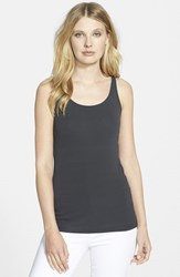 Petite Women's Eileen Fisher Long Scoop Neck Camisole Graphite