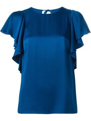 Lanvin Ruffle Sleeve Top Blue