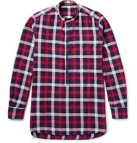 Barena Grandad Collar Checked Cotton Twill Shirt Red