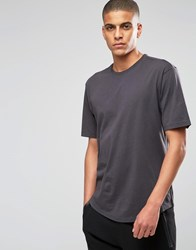 Sisley Crew Neck T Shirt With Drop Shoulder Charcoal Grey