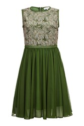 Almost Famous Abstract Orchid Top Dress Green