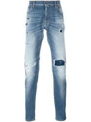 Dolce And Gabbana Distressed Regular Fit Jeans Blue