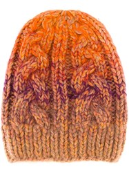 Missoni Cable Knit Beanie Yellow Orange