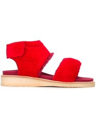 Bernhard Willhelm 'Play' Raw Edge Sandals Red