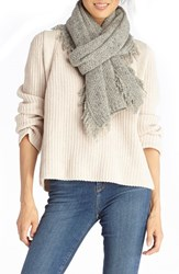 Sole Society Women's Fringe Textured Knit Scarf Grey