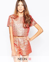 Lashes Of London Shell Top In Jacquard Print Pink Gold