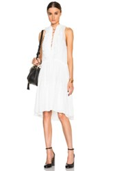 Chloe Chloe Embroidered Cotton Voile Lace Up Front Dress In White