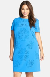 Tahari Laser Cut Crepe Shift Dress Plus Size Cerulean