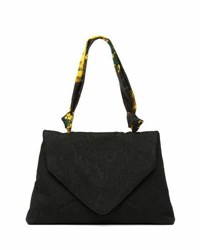 Dries Van Noten Envelope Clutch Bag W Ribbon Top Handle Yellow Black