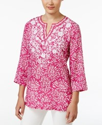 Charter Club Petite Floral Print Embroidered Tunic Only At Macy's Spanish Red