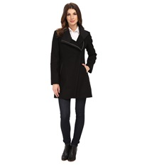 Calvin Klein Wool Asymmetrical Zip Coat Black Women's Coat