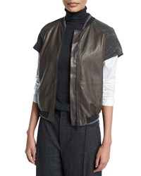 Brunello Cucinelli Monili Embellished Cap Sleeve Jacket Graphite Grey Women's