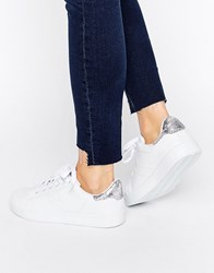 Missguided Metallic Snake Tab Trainers White
