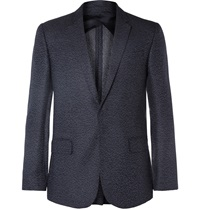 Kilgour Navy Slim Fit Spotted Silk And Wool Blend Blazer Blue