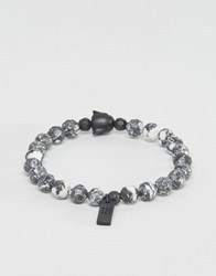 Icon Brand Beaded Bracelet In Charcoal Grey