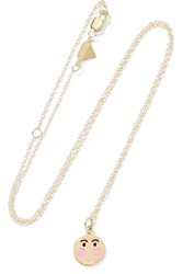 Alison Lou Small Bashful 14 Karat Gold Enamel Necklace