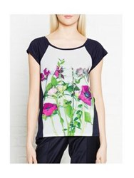 Paul By Paul Smith Floral Print Cap Sleeve T Shirt Navy