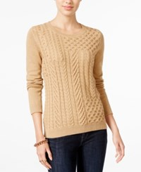 Tommy Hilfiger Carly Cable Knit Sweater Only At Macy's Tobacco