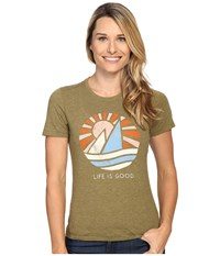 Life Is Good Lig Geo Sailboat Cool Tee Woodland Green Women's T Shirt
