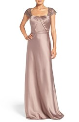 La Femme Women's Embellished Lace And Satin Gown