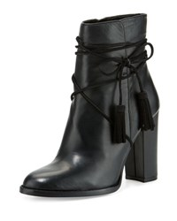 Vince Camuto Garrit Leather Tassel Tie Bootie Black