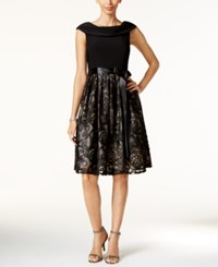 Jessica Howard Soutache Belted Fit And Flare Dress Black Tan
