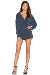 Endless Rose Long Sleeve V Neck Shimmer Romper Blue