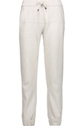 Brunello Cucinelli Embellished Cotton Jersey Tapered Pants Off White