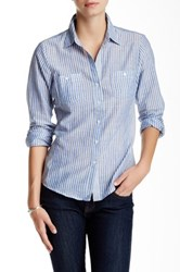 Sandra Ingrish Striped Two Pocket Button Down Petite Blue
