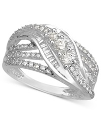 Wrapped In Love Diamond Ring 14K White Gold Diamond Three Station Ring 3 4 Ct. T.W.