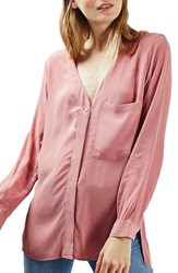Topshop Women's Slouchy Pocket Long Sleeve Blouse