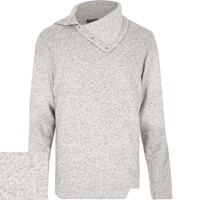 River Island Mens Light Grey Cowl Neck Jumper