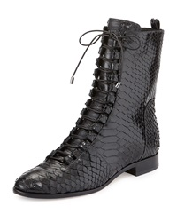 Alexandre Birman Coro Python Lace Up Boot Black