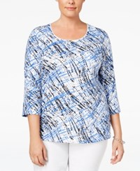 Karen Scott Plus Size Printed Top Only At Macy's Bright Blue