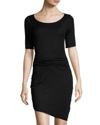 Three Dots Christina Asymmetric Ruched Sheath Dress Black